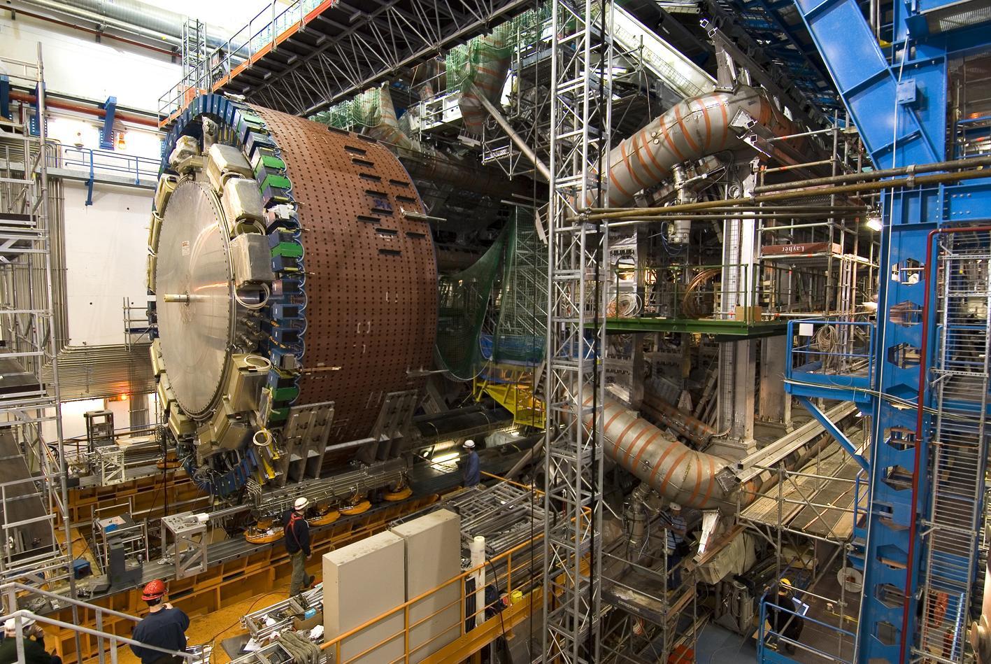 Part of the ATLAS Liquid Argon Calorimeter being installed