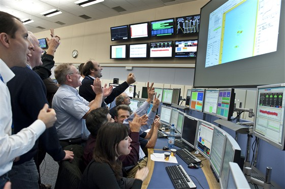 Happy scenes in the CERN Control Centre