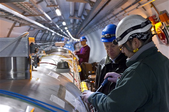 [IMAGE: Inside the LHC tunnel]