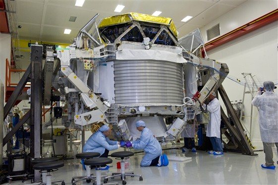 The AMS detector under preparation at CERN in July 2010