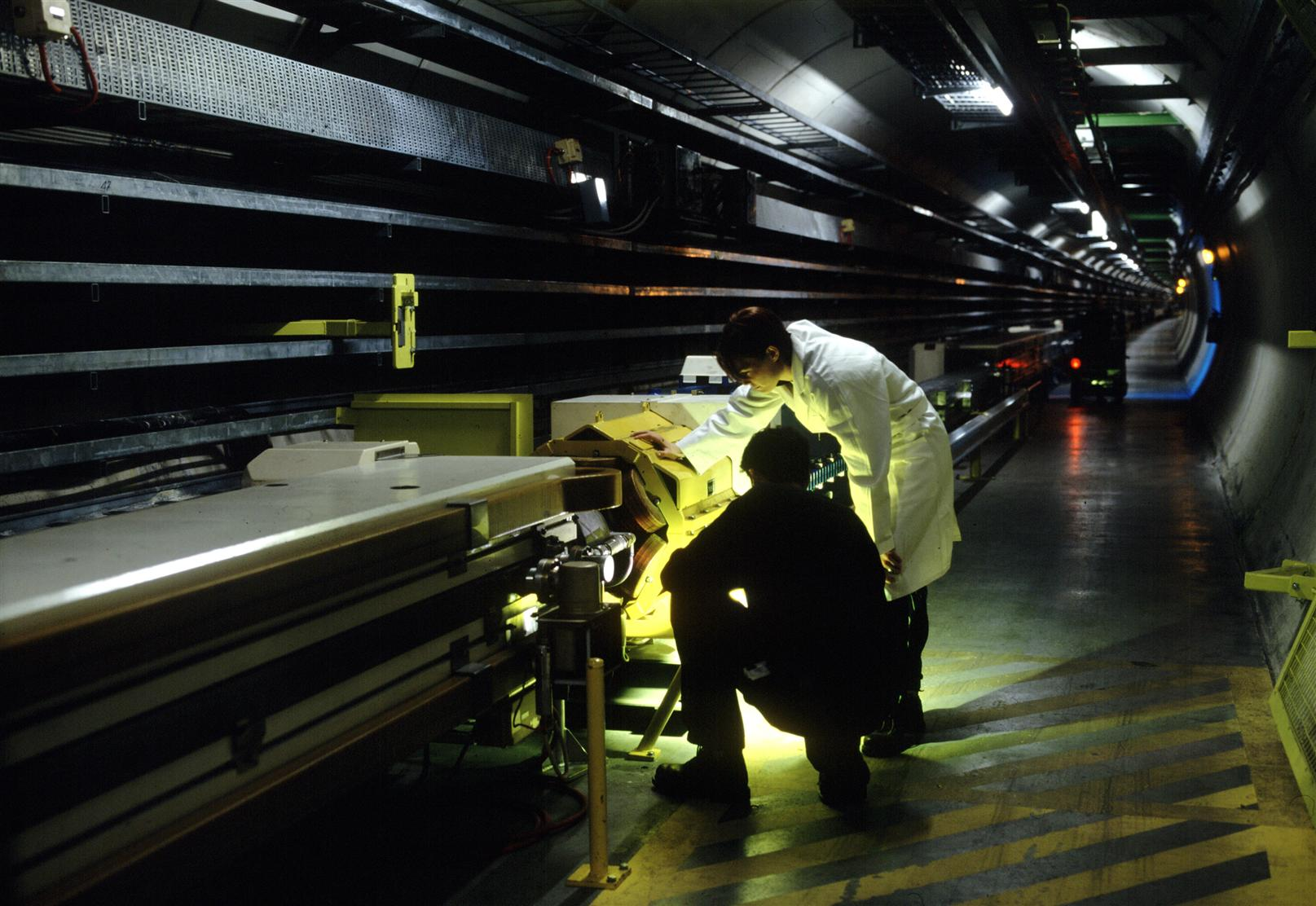 At work on LEP, the world's most powerful electron–positron collider