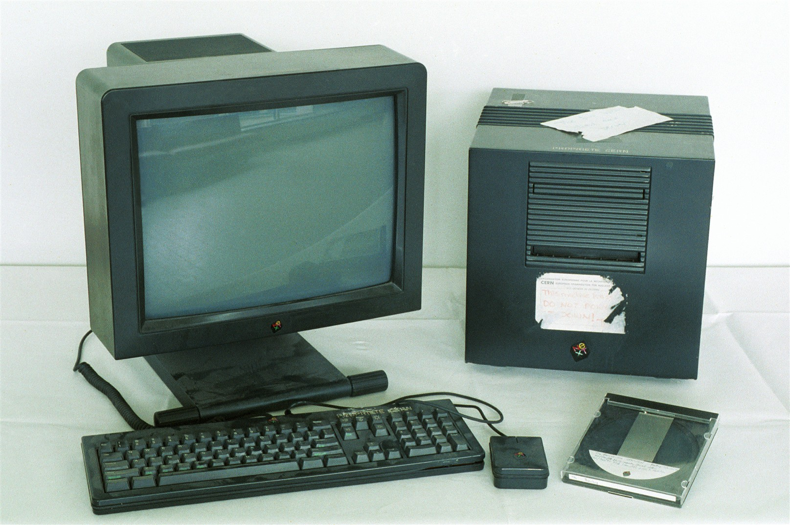 The first web server: this machine was used by Tim Berners-Lee in 1990 to develop and run the first WWW server, multi-media browser and web editor.