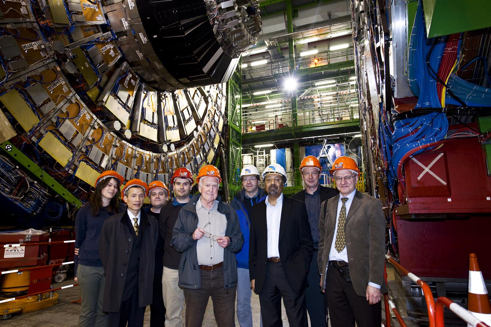 Portrait of Peter Higgs.  Prof. Peter Higgs visits the CMS experiment, which may find the elusive Higgs boson