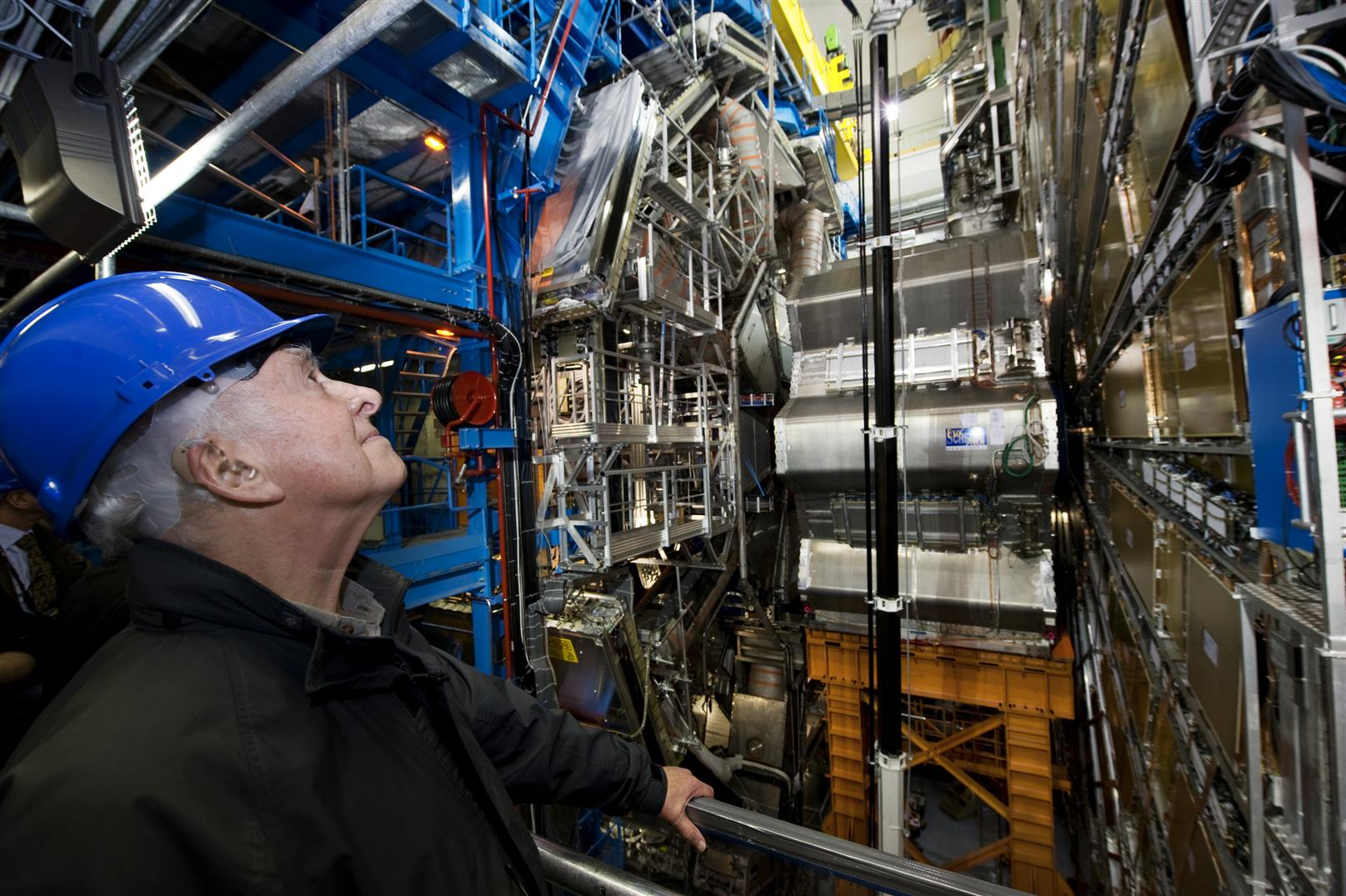 Peter Higgs visits the ATLAS experiment, which may find the elusive Higgs boson