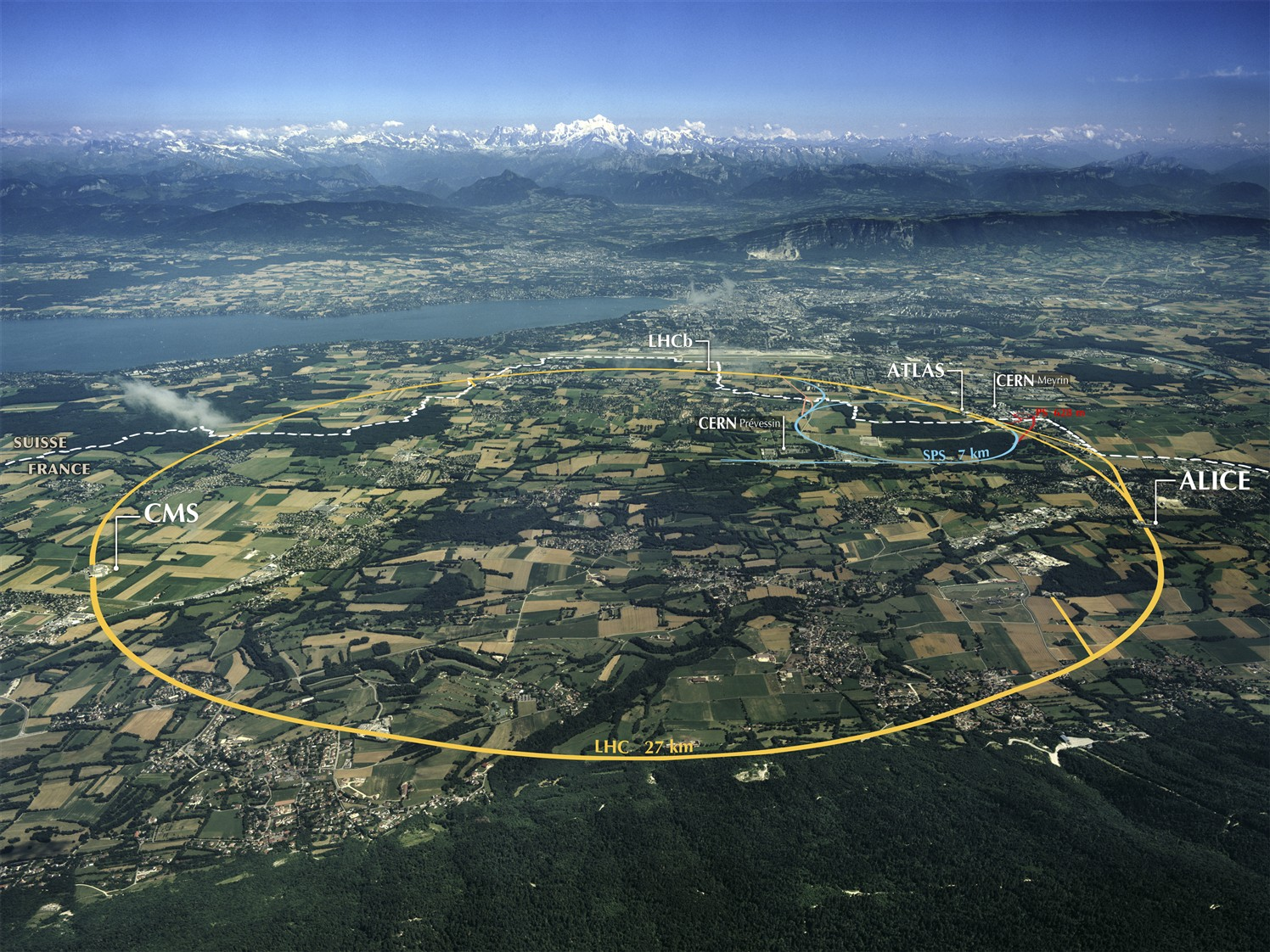 Aerial View of the CERN taken in 2008.
