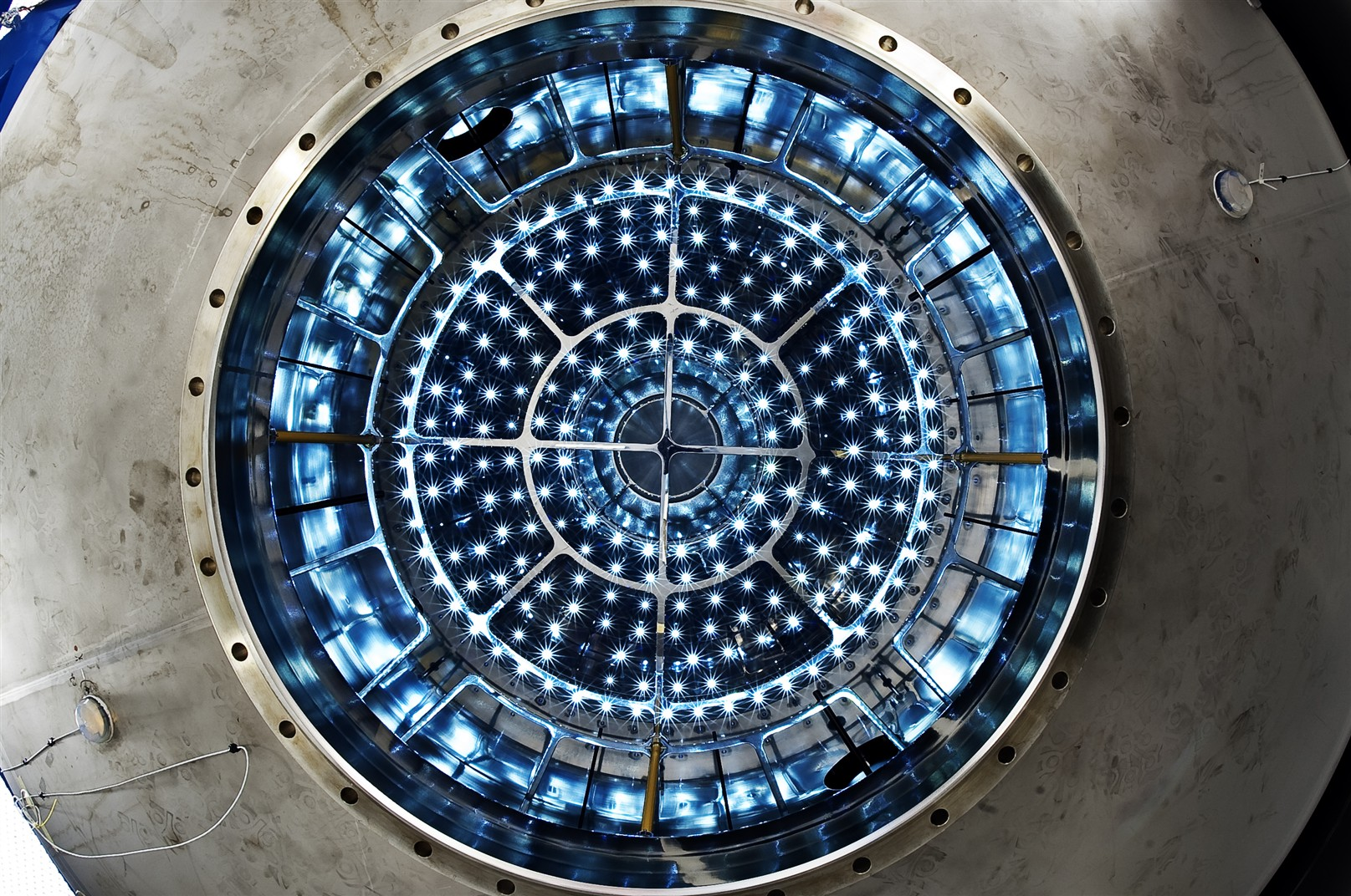 Cloud Experiment. View inside the chamber with Jasper Kirkby, Head leader of the project.