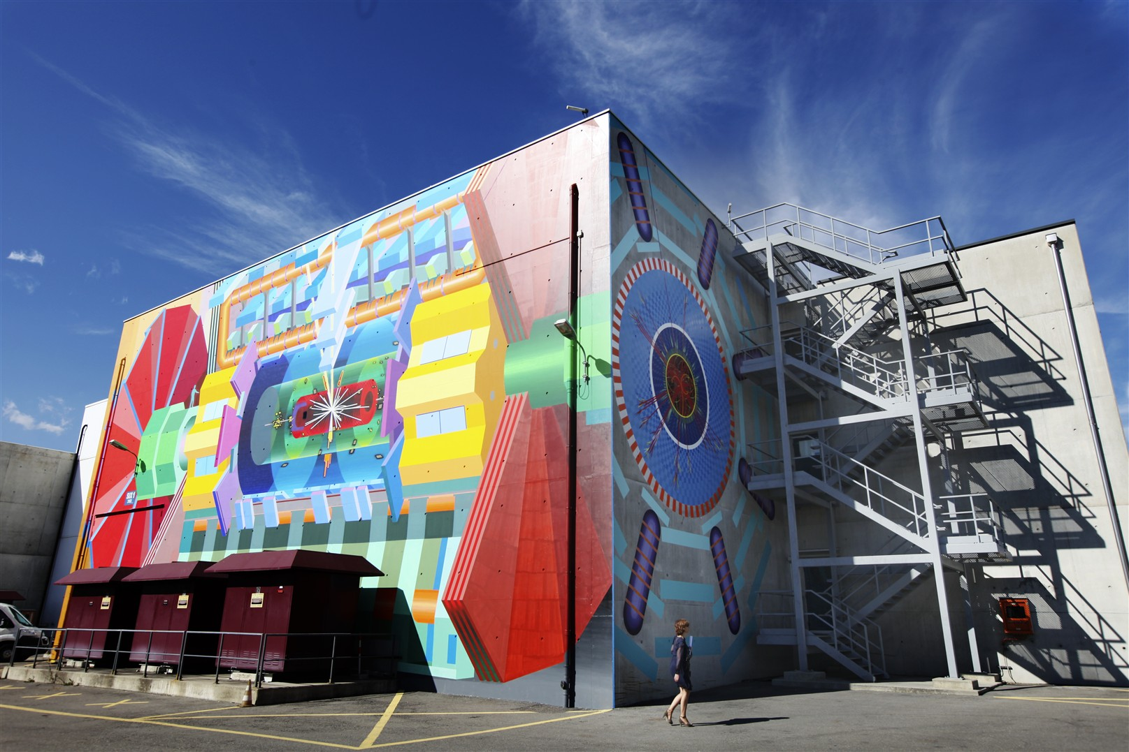 Photos of the massive ATLAS art mural at point 01 at CERN by Josef Kristofoletti, completed.