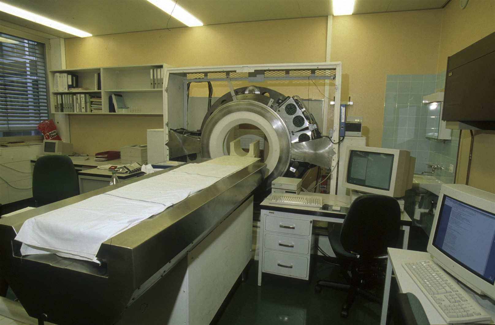 Theses pictures represent the machine element of ClearPEM machine (a position emission tomograph for mamography) developed by the CrystalClear Collaboration  installed in Coimbra , Portugal and the second ClearPEM machine developed by crystal clear in fra