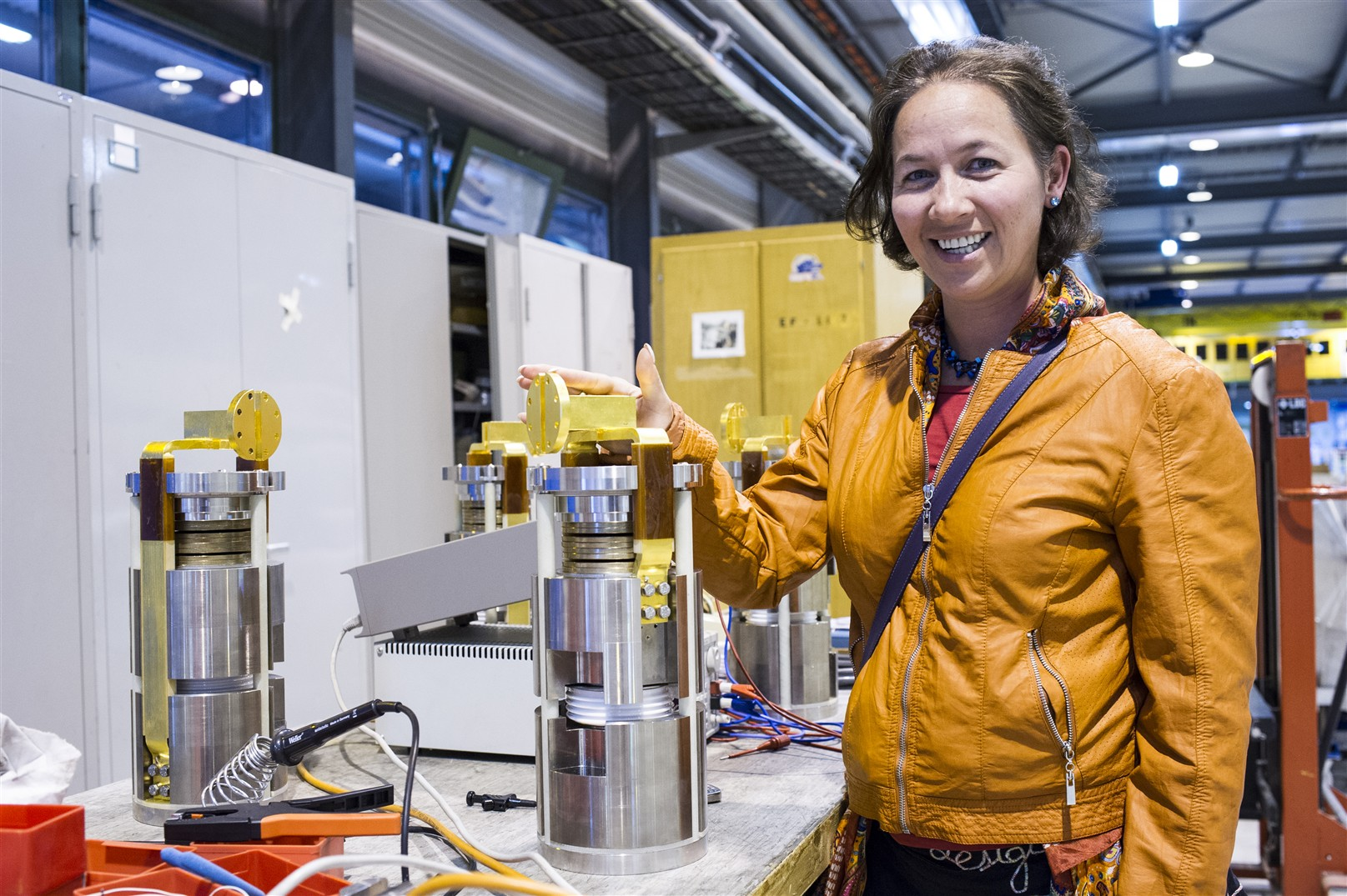 Dr Marta Bajko in front of the Gold pated
